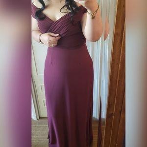 Dresses - Floor length dress wine, V neckline prom, wedding